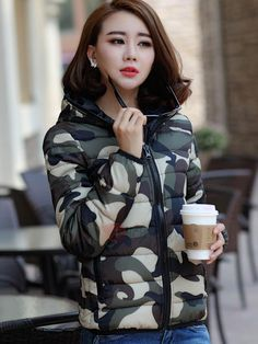 #TideBuy - #TideBuy Short Camouflage Hooded Womens Coat - AdoreWe.com