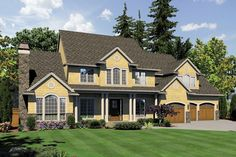 This one may be my favorite of all-- little craftsman, little farm house, lots of windows House Plan 48-619