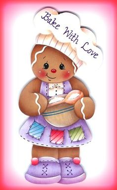 "Laminated Fridge Magnet Gingerbread Girl Chef ""Bake with Love"" Gingerbread Ornaments, Gingerbread Decorations, Christmas Gingerbread, Christmas Art, Christmas Decorations, Christmas Ornaments, Arts And Crafts, Diy Crafts, Country Paintings"
