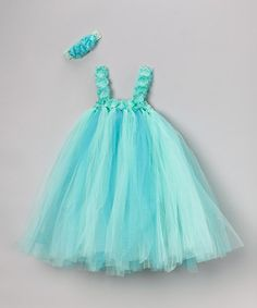 Take a look at this Turquoise Tulle Dress & Flower Headband - Infant, Toddler & Girls on @zulily today!