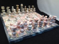 Mexican Onyx Marble #Chess Set Pink Gray Complete Game Board 32 Playing Pieces   eBay