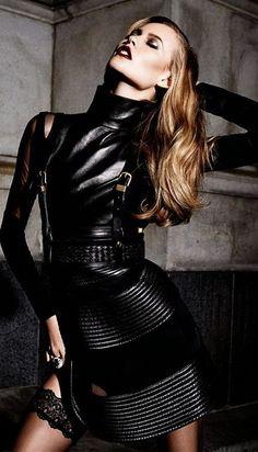 Black Leather Clad Femme Fatale