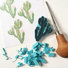 New cactus to my rubber stamp collection. Hand carved by Cassastamps