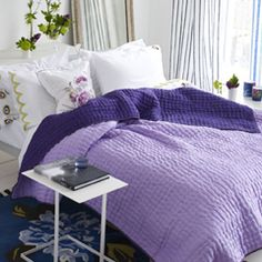 Designers Guild chenevard damson & heather silk quilt