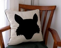 Standard 45x45cm scatter cushion cover made from natural bull denim with fox head silhouette applique