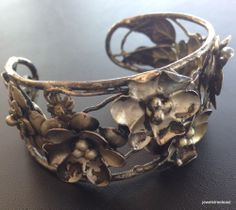 RARE Signed STERLING CRAFT By CORO Vintage Bracelet Cuff Flower Rose WOW! 30