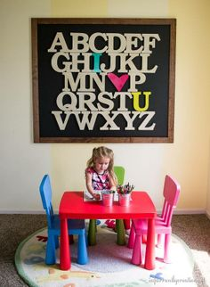 toy rooms Turn large wooden letters into a huge statement piece with this alphabet art. This would be so cute in my toy room! Alphabet Signs, Alphabet Wall Art, Alphabet Board, Large Wooden Letters, Wood Letters, Toy Rooms, Kids Rooms, Kid Spaces, My New Room