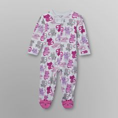 Little Wonders- -Infant Girl's Footed Sleeper Pajamas - Cats-Baby-Baby & Toddler Clothing-Sleepwear