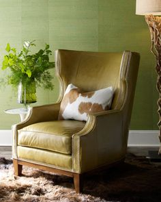 Green Leather Chair by Massoud at Horchow.