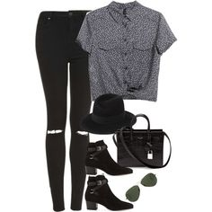 Sem título #699 by oh-its-anna on Polyvore featuring MANGO, Topshop, Yves Saint Laurent, Maison Michel and Ray-Ban
