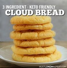 Ingredient Keto Cloud Bread Recipe - Hustle Mom Repeat Keto Cloud Bread is easy to make - only 3 ingredients you probably already have in your kitchen!Keto Cloud Bread is easy to make - only 3 ingredients you probably already have in your kitchen! Low Carb Bread, Low Carb Keto, Low Carb Recipes, Cooking Recipes, Healthy Recipes, No Carb Cloud Bread, Carb Free Bread, Keto Mug Bread, Cooking Corn