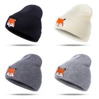 New Trend Fox Pattern Knitted Hat Women Men Autumn Winter Embroidery Wool  Cap Outdoor Travel Warm Accessories a0a934a01069