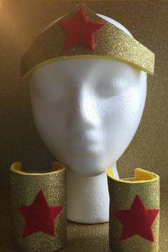 Wonder Woman Crown and Bracers - Wonder Man Accessories - Wonder Woman Costume - Wonder Woman Halloween Costume