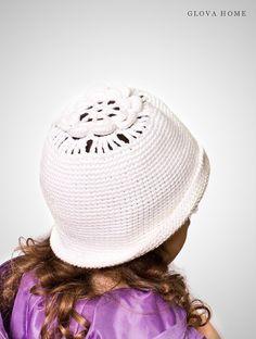 Hat with fields LIGA for girls Crochet hat White hat #glovahome #crochetlace #forgirl