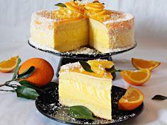 This recipe is in Romanian, zebra orange mousse cake Citrus Cake, Cake Recipes, Dessert Recipes, Different Cakes, Dessert Drinks, Let Them Eat Cake, Sorbet, Gelato, No Bake Cake