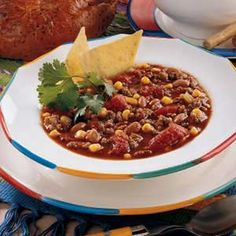 Taco Soup. Yummy and full of flavor. I would cut back on the ground beef to 1.5 lbs or even just one. I didn't add the ranch packet because I didn't want added salt.