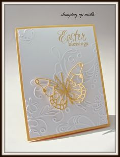 stamping up north: Embossed Easter Blessings...... Stampin Up Elegant Lines Embossing Folder & Memory Box Vivienne Butterfly