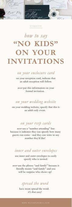 """how to say """"no kids"""" on your wedding invitations #weddingetiquette #nokidsoninvitations #nokids #weddinginvitations Blue Wedding Invitations, Wedding Invitation Wording, Wedding Etiquette, Wedding Vendors, Wedding With Kids, Purple Wedding, Dusty Blue Weddings, Reception Card, Industrial Wedding"""
