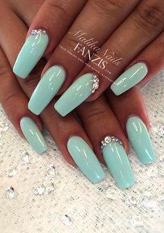 ♡Turquoise-Rhineston  NailArt