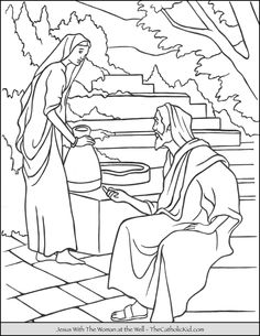 Woman at the Well Coloring Page Lovely Pin On Catholic Coloring Pages for Kids Elsa Coloring, Jesus Coloring Pages, Frozen Coloring Pages, Bible Coloring Pages, Coloring Pages For Girls, Coloring For Kids, Coloring Books, American Flag Coloring Page, Tsum Tsum Coloring Pages