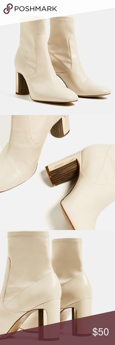 Zara nude yeezy inspired booties. Size 9, fits a little snug. Perfect nude booty with wood/ gold detail on the heal. Perfect to wear with over sized bad t-shirts or army green/neutral colored t-shirt dresses, yeezy inspired. Zara Shoes Ankle Boots & Booties