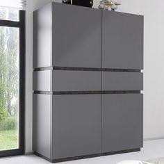 Buffet haut blanc ou gris laqué mat 4 portes BRICK 2 | Buffets ...