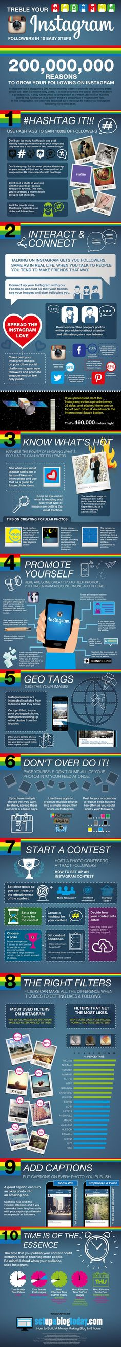 Instagram es una de las redes sociales de mayor crecimiento en los últimos meses. Esta infografía nos muestra 10 recomendaciones para lograr más seguidores.