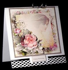 Vintage beauty card with decoupage on Craftsuprint designed by Angela Wake - made by Dianne Jackson