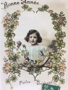 Good luck card * Four leaves cloves * Lucky card * Smiling young girl * Antique French postcard early 1900s by ExcusemyFrenchShop on Etsy