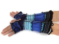 Unique Arm Warmers  Blues & Black  Fingerless by malibuquilts, $20.00