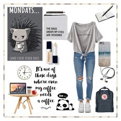 """""""Monday should be optional"""" by fallenst4r ❤ liked on Polyvore featuring Tom Raffield, About Face Designs, Levi's, Fjällräven, Cost Plus World Market, House of Hackney, Montblanc, OUTRAGE and Apple"""