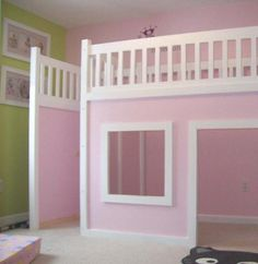 @Kristin Fredricks could totally build this for Amelija. How adorable is that??? Bed and play house all in one (it wouldn't have to be pink!)