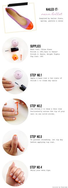 Nailed it: Neon orange & lavender French manicure tutorial inspired by color blocked ballet flats.