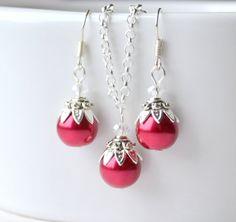 Red glass beaded jewelry set dark red bridesmaid by LaurinWedding, $14.00