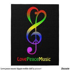 Love peace music hippie treble clef jigsaw puzzle