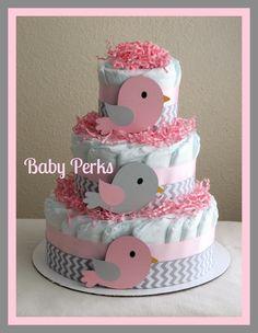 Bird Diaper Cake . Baby Girl baby Shower . Nesting Baby Shower. $47.00, via Etsy.