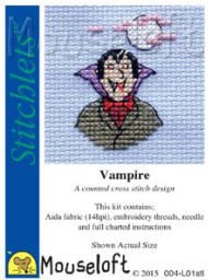 Perfect to do for a Halloween Card or Invites. Mouseloft Stitchlets Cross Stitch Kits Vampire