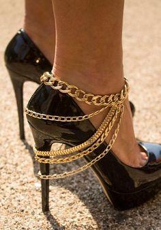 Rhinestone Gold Chain Anklet ~ pinterest: @xpiink ♚