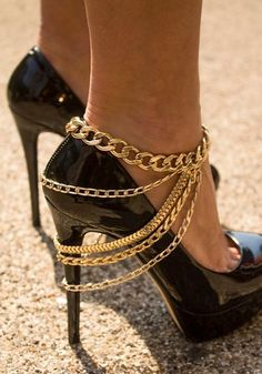 Rhinestone Gold Chain Anklet - Gold Chain Anklet