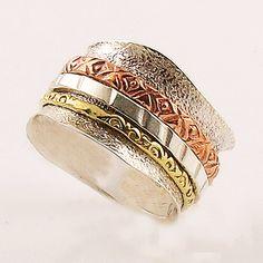 Spinner Ring - Three Tone Scaloped Edge Band - keja Jewelry