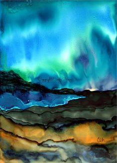 Digital art, digital download,full moon, landscape, mountains, alcohol ink, trees, pine trees, lake, pond