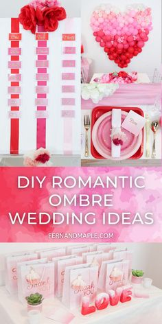 The blended beauty of an ombre look is perfect for a romantic wedding theme, but these ideas for DIY backdrop, place settings, favors and more can also easily be used for a Valentine's or Galentine's party! Get all of the details now at fernandmaple.com!