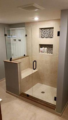 Amazing Small Master Bathroom Shower Remodel Ideas and Design 01 Small Basement Bathroom, Master Bathroom Shower, Tiny House Bathroom, Bathroom Renos, Bathroom Layout, Bathroom Ideas, Bathroom Remodeling, Compact Bathroom, Budget Bathroom