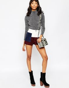 ASOS Shorts in Suede and Leather Patchwork