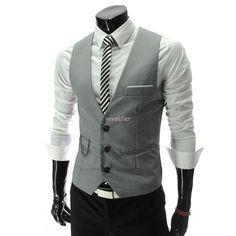 New Men Slim Fit Waistcoat Vest Casual Business Waistcoat Vest Tops | eBay