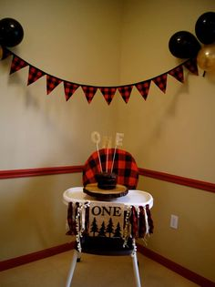 Lumberjack Birthday Party Ideas | Photo 1 of 14 1st Birthday Party Ideas For Boys, Baby Birthday, Boys First Birthday Party Ideas, Red Birthday Party, 1st Birthday Decorations Boy, Lumberjack Party, Lumberjacks, Plaid Nursery, Highchair Cover