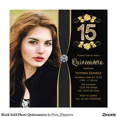 Black Gold Photo Quinceanera 5.25x5.25 Square Paper Invitation Card