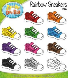 You will receive 11 clipart graphics that were hand drawn by myself 10 Colored Graphics and 1 B/W Outline Graphic! All graphics are high resolu (Tech Week Kit) Preschool Learning Activities, Preschool Books, Digital Paper Freebie, 2 Clipart, Rainbow Sneakers, Card Games For Kids, School Labels, Shoe Crafts, Alphabet For Kids
