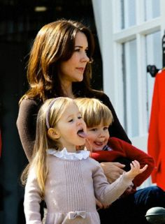 Crown Princess Mary with twins Prince Vincent and Princess Josephine during 74th birthday celebration of Queen Margrethe in Aarhus at Marselisborg Castle, 16.04.14