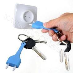 Hot Sale Unplug Key Ring Holder With Wall Hanger Socket Mini Cute Key Storage Hooks Dropshipping Hot Storage Hooks, Key Rack, Wall Hanger, Key Rings, Housekeeping, Light Blue, Ebay, Design, Organization